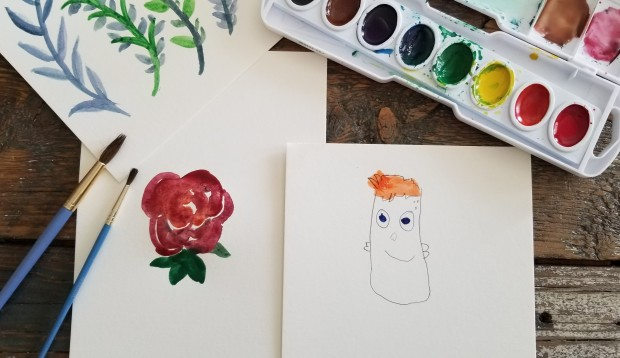 Watercolor with Jayden
